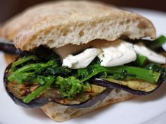 Grilled Eggplant, Broccoli Rabe, and Mozzarella Sandwich. #recipe #vegetarian