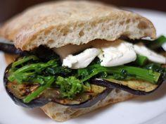 Grilled Eggplant, Broccoli Rabe, and Mozzarella Sandwich. #recipe