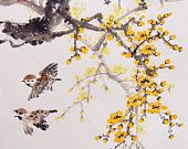 Cherry Blossom paintings Original  chinese  painting oriental art watercolour-Lovely cherry blossom tree No.71