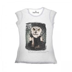 Lacrom - Manymal - Owl T-shirt Woman slab cotton t-shirt with frontal print.