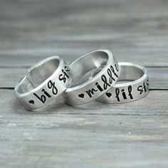 Lil Sis Middle Sis Big Sis Ring Set - If purchasing from Pinterest - Make sure you send us your sizes.