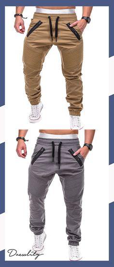 d0b77fddb5bc14 Stitch Zipper Embellished Casual Jogger Pants.Extra 12% off code:DL123  #dresslily
