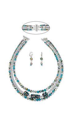 Kumihimo Necklace with Celestial Crystal®️ Beads and Coordinating Earrings  #jewelrymaking #kumihimo #beading #diyjewelry