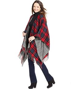 Collection XIIX Double Plaid Reversible Poncho