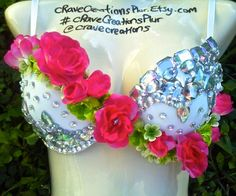 Hot Pink Rose Custom Bling Rave Bra Costume by cRaveCreationsPLUR, $55.00