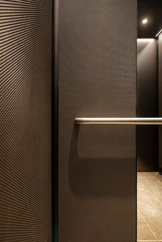 Elevator Interior with customized panel layout; panels in Bonded Nick. Lift Design, Cabin Design, Door Design, Cleaning Car Upholstery, Elevator Design, Wall Tiles Design, Lobby Design, Contemporary Interior Design, Lifted Cars
