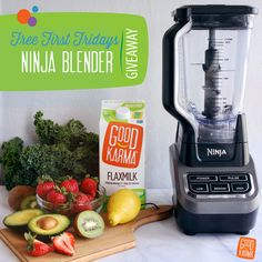 It's #Giveaway time again! This month's Free First Friday starts now with another chance to win a Ninja blender! Good Karma is free from nuts, soy, gluten and dairy, and we want to offer even more free with this fun giveaway. FOLLOW us on Pinterest for a chance to #WIN! Follow us on Instagram, Facebook, and Twitter for even more chances. #WINNERS announced Tuesday! #GoodLuck!