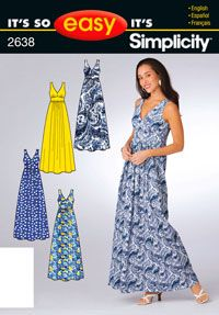 Misses Dress or Day Gown Simplicity Sewing Pattern No. 2638. Size 6-16.