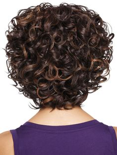 Women Dark Brown Highlight Side Bang European American Short Curly Synthetic Wig - One Size Curly Hair With Bangs, Haircuts For Curly Hair, Curly Hair Cuts, Black Curly Hair, Short Curly Hair, Hairstyles With Bangs, Short Hair Cuts, Curly Hair Styles, Natural Hair Styles