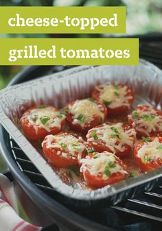 Cheese-Topped Grilled Tomatoes -- This healthy living side dish--made with Mozzarella, Parmesan, and zesty Italian dressing--is sure to be a favorite recipe at your next BBQ.