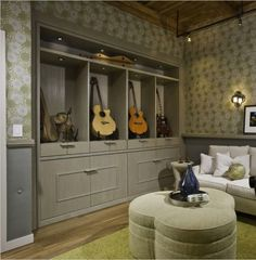Music room - guitar storage - an alternative to the usual hanging arrangement. Home Music Rooms, Music Studio Room, Sound Studio, Guitar Storage, Guitar Display, Guitar Room, Guitar Wall, Bedford House, Room Additions