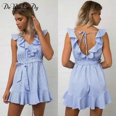 Cheap summer casual dress, Buy Quality casual dress directly from China striped dress Suppliers: DeRuiLaDy 2017 Women summer Casual dress Ruffles V Neck Sleeveless high Waist Slim Blue Striped Dresses Sexy Backless Vestidos Cheap Dresses, Sexy Dresses, Short Dresses, Fashion Dresses, Prom Dresses, Ruffle Dress, Striped Dress, Look Retro, Vestidos Sexy