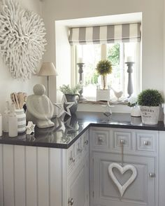 Country kitchen with grey units..accessorised with West Barn Interiors ... Hearts Stars Topiary