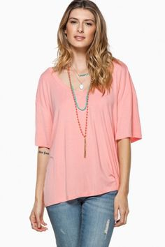 Cozy Short Sleeve Double V Neck Tee in Peach by Piko