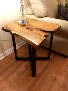 Cherry live edge end table. Rustic chic. Industrial chic. Character wood.