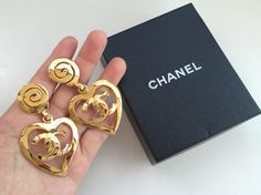 Vintage 1995 CHANEL Large Heart CC Logo Drop Dangle Clipped Earrings