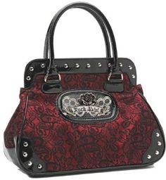 Amazon.com: Rock Rebel Brocade Lace Black and Shimmery Red Wine Vintage Style Vegan Handbag Purse: Rock Rebel: Clothing