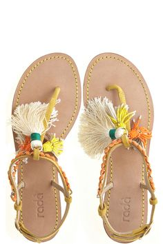 $249  Fringe Sandal by RADA  fun and festive thong sandal  adorned with beaded fringe tassels  brass chain & ribbon embellishments  adjustable braided ankle strap  italian leather soles, handmade in italy