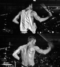 yep... one moment his rocking out there with a sexy shirt on... and the next one he's rocking out there shirtless and giving woman the best day of their lives xD