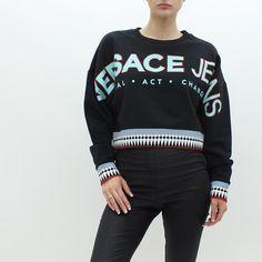 3906a169a Versace Jeans Logo Crop Sweat Black Versace Jeans, Spring Summer 2018, Crew  Neck,