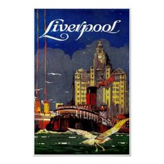 #Liverpool England ~ Vintage United Kingdom Travel Poster  #Travel United Kingdom - We cover the world over 220 countries, 26 languages and 120 currencies Hotel and Flight deals.guarantee the best price multicityworldtravel.com