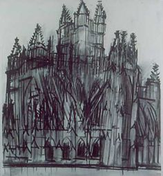 Artist has roughly sketched the cathedral using sharp lines and dark conturing. Their use of monochromatic tones express a haunted/lost expression.
