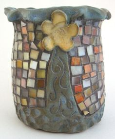 Stoneware Pottery Glass Mosaic Hand Built Vase Sculpted Flower OOAK. SOLD