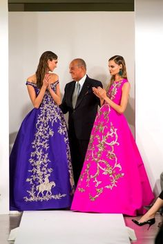 Karlie Kloss, Oscar de la Renta, and Magdalena Frackowiak at the Oscar de la Renta, Fall/Winter 2013 show.