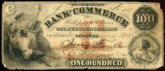 Obsolete Bank Note - $100 Bank of Commerce, Savannah, Georgia