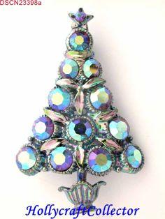 23398a - RARE Vintage Blue Mirrored AB Stones Christmas Tree Pin