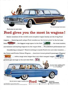 1960 Ford Country Squire Station Wagon and Ford Falcon Four Door Station Wagon