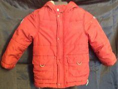 Janie And Jack Boy's Hooded Puffer Jacket Red Sz 2T-3T EUC  | eBay