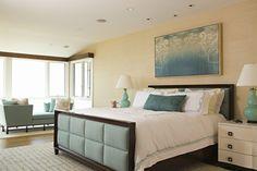 blue, teal, brown, white bedroom