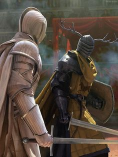 Ser Duncan the Tall of the Kingsguard vs Lord Lyonel Baratheon artist: Chase Stone Elfen Fantasy, 3d Fantasy, Fantasy Armor, Medieval Fantasy, Duncan The Tall, Chase Stone, Arte Game Of Thrones, Game Thrones, Armadura Medieval