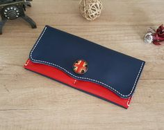 Handmade red and navy blue leather women by ATLeatherBoutique