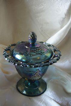Indiana Blue Carnival Glass Lace Edge Spooner | eBay Fenton Glassware, Antique Glassware, My Glass, Glass Art, Antique Dishes, Vintage Dishes, Blue Carnival Glass, Glass Canisters, Vintage Carnival