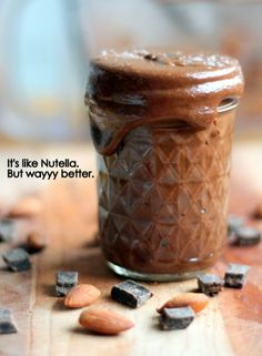 Homemade Salted Dark Chocolate Almond Butter - replace honey with agave  you've got vegan goodness!
