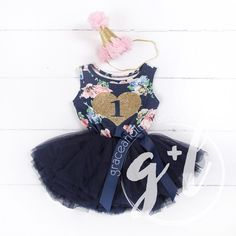 """1st Birthday Outfit Gold Heart """"1"""" Navy Floral Sleeveless Tutu Dress & Pink Party Hat"""