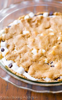 S'mores chocolate chip cookie cake.