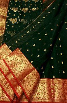 Black Handloom Chanderi Katan Silk Saree