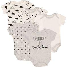 Set of Five Grey & White Cuddlin' Bodysuits - Unisex Baby - Baby & Nursery - Kids & Toys - TK Maxx