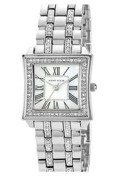 Anne Klein Crystal Accent Square Bracelet Watch | Nordstrom