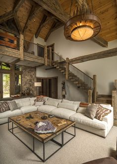 Family Living, Hand Hewn Beams, Mountain Home, Mountain Modern, Home, House Prices, Modern Mountain Home, Modern, Great Rooms