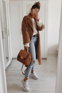 Trendy Ideas For Womens Fashion Casual Fall Outfits Camel Coat Casual Fall Outfits, Winter Fashion Outfits, Simple Outfits, Spring Outfits, Autumn Fashion, Casual Winter, Denim Outfits, Fashion Dresses, Fashion Mode
