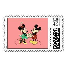 Vintage Mickey Mouse Minnie Stamps Invitation And