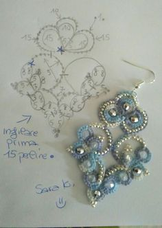** Blue Beaded Tatting Earring