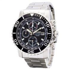 SEIKO Alarm Chronograph SNA225P1 Orologio da Polso Uomo al Quarzo Acciaio 100m #seiko #crono #wristwatch #diver #menswear