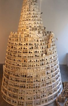 Lothar Osterburg, Tower of Babel , 2014-15 wood, matboard, found book pages 122 x 72 x 72 inches, architectural model, maquette, modelo
