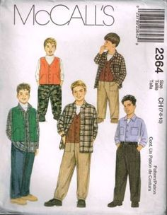 2364 Sewing Pattern McCall's Boys Shirt Pants Vest 7 8 10