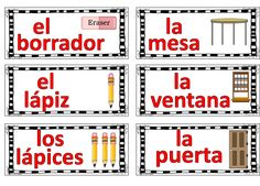 Classroom labels in Spanish. Also available in English.